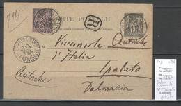 Entier Carte Postale Type Sage RECOMMANDE De Paris Pour La DALMATIE - AUTRICHE - 1896 - DESTINATION RARISSIME - - Postmark Collection (Covers)