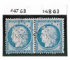 TIMBRES N°60/1 ;  PAIRE 147/148 G3 ; N° 147 TRÈS DIFFICILE À TROUVER SANS VOISIN;   RARE ; TTB - 1871-1875 Cérès