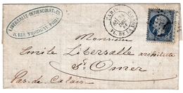 Lettre 1866 Paris Libersalle Deriencourt & Cie 8 Rue De Thorigny Napoléon III 20 Centimes Saint Omer Pas De Calais - 1853-1860 Napoleon III
