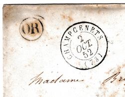 Lettre 1852 Champcenest Seine Et Marne Villiers-Saint-Georges - Marcofilie (Brieven)