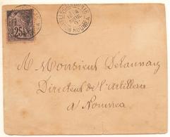 Rare Lettre De 1893 De Nouméa Avec Le 25c Noir/ Rose Alphée Dubois Cote Maury 1400 € - Briefe U. Dokumente