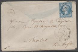 Charente Inférieure:  G.G.3445 Sur N°22 + CàD SOUBIZE(16) Sur LSC De 1866 - Marcophilie (Lettres)