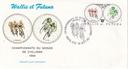WALLIS ET FUTUNA 1989 LETTRE DE MATA-UTU THEME CYCLISME - Covers & Documents