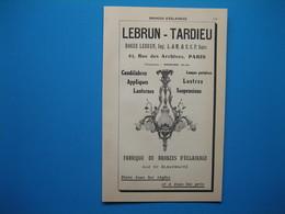 (1914) Bronzes D'Éclairage à Paris : LEBRUN-TARDIEU Rue Des Archives --- BÉZIEL & RIBOT Boulevard Richard Lenoir - Publicités