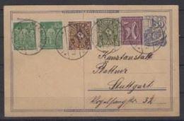 Deutsches Reich 1922: Postkarte Mit Attraktiver 5-Farben-Frankatur Mit O KEMPTEN 3.7.23 Nach Stuttgart - Deutschland
