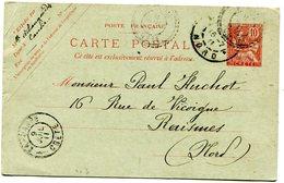 Entier De CANDIE Du 08/07/1911 Avec Dateur B De CANDIE+ Dateur A De LA CANEE +R01 De RAISMES Du 16/07/1911 - Unclassified