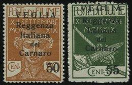 FIUME 32/3II **, Fiumanische Besetzung Der Carnaro-Inseln: 1920, 50 Und 55 C. VEGLIA, Kleiner Aufdruck, Nr. 33 Nadelstic - Sonstige - Europa