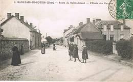 SAULZAIS LE POTIER (Cher) - L'école Des Garçons - Route De Saint-Amand - Animée - Autres Communes