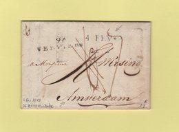 Verviers - 96 - Dateur 4 Fev 1812 - Departement Conquis De L'Ourthe Pour Amsterdam - Taxe Corrigee - Marcofilie (Brieven)