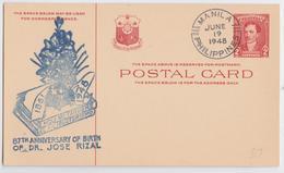 Philippines Commemorative Stationery Postal Card 87th Anniversary Dr Jose Rizal Manila June 1948 Entier Illustré Blason - Filipinas