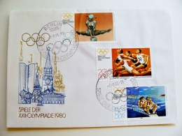 Cover Germany Ddr Olympic Games 1980 Special Cancel Berlin Rowing Gymnastics Athletics Moscow Kremlin - [6] Democratic Republic