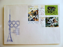 Cover Germany Ddr Olympic Games 1980 Special Cancel Berlin Cycling Bicycle Wrestling  Tv Tower - [6] Democratic Republic