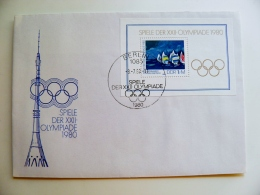 Cover Germany Ddr Olympic Games 1980 Special Cancel Berlin  Yachts Sailing M/s  Tv Tower - [6] Democratic Republic