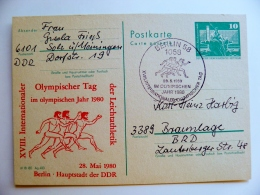 Card Germany Ddr Olympic Games 1980 Special Cancel Berlin Athletics Run Ancient - DDR