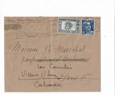 VARIA1-  ENTRAIDE DANS L'ARMEE SUR LETTRE DU 21/5/1953 - Erinnofilia