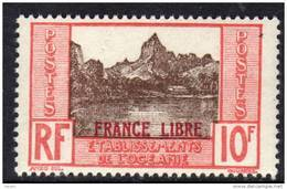 """Océanie N° 142 X  10 F.  Rouge Et Brun Surchargé  """"France Libre""""  Trace De Charnière Sinon TB - Ongebruikt"""