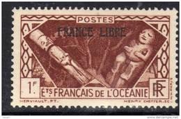 """Océanie N° 144 X  1 F.  Marron Surchargé  """"France Libre"""" Trace De Charnière Sinon TB - Ongebruikt"""
