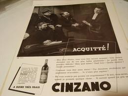ANCIENNE PUBLICITE CINZANO ACQUITTE 1939 - Posters