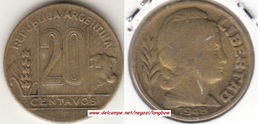 Argentina 20 Centavos 1948 KM#42 - Used - Argentina