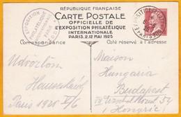 1925 CP Officielle Exposition Philatélque Internationale De Paris - Entier Pasteur 45 C - Filatelistische Tentoonstellingen