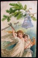 OLD CARD 1906 - ANGEL WITH HARP & TRUMPET  - Embossed - Gaufré - Gaufrée - ANGE AVEC HARPE & TROMPETTE - JOYEUX NOEL - Anges