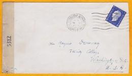 1945 - Enveloppe De Marseille-départ Vers Washington, DC, USA - 4 Francs Dulac Seul - Censure - Marcophilie (Lettres)