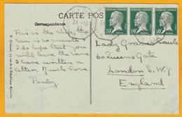 1923 CP Vers Londres - Ligne Maritime Yokohama Marseille - SS Chambord - Bande De 3 Pasteur - Postmark Collection (Covers)