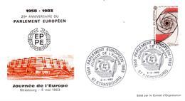 Enveloppe + Carte 25ème Ann. Parlement Européen - Journée De L'Europe - 05/05/83 - European Community