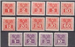 Austria ÖSTERREICH 1945 Mi 175 - 188 PORTOMARKEN STAATSWAPPEN PORTO SOVIET ZONE Complete Set MNH - Revenue Stamps
