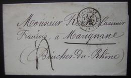 Marseille, Lettre Pour Marignane Avec Cachet Bleu Des Douanes à L'arrière - Postmark Collection (Covers)