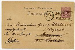 LEER  1877 P 5 Nach Damm + Weiter Nach Stettin Dort Ankunfts K 1 - Deutschland