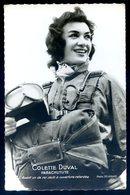 Cpa Dos Vierge Colette Duval Parachutiste Autographe Original Au Dos  SEPT18-13 - Paracaidismo
