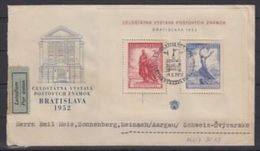 CSSR: Michel-No.766-767 Block 13 Yvert BF 16 Mit Sonder-o BRATISLAVA 19.X.1952 (1 Tag Nach ET !) Nach Reinach (Schweiz) - Tchécoslovaquie
