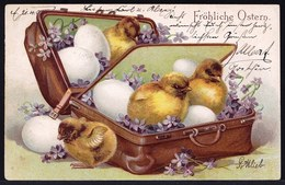 SPLENDID OLD EMBOSSED GERMAN CPA - CHICK IN SUITCASE  - GAUFRE POUSSIN DANS VALISE - PAQUES - EASTER - Easter