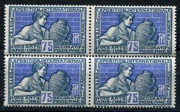 RC 10092 FRANCE N° 214 - 75c ARTS DÉCORATIFS BLOC DE 4 NEUF ** TB MNH - France