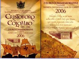 Rare! San Marino 2 Euro Commemorativi 2006 Cristoforo Colombo (Commemoratif San Marin Christophe Colomb) (FDC) - San Marino