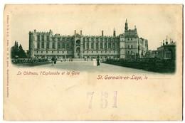 CPA 78 Yvelines Saint-Germain En Laye Le Château L'Esplanade Et La Gare Animé - St. Germain En Laye (Château)