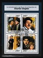 Bloc Feuillet Oblitéré De 4 T.-P. - La Commémoration Des 40 Ans De La Disparition De Charlie Chaplin - Djibouti 2017 - Dschibuti (1977-...)