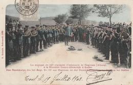A HAGUENAU - ALSACE - LA MUSIQUE DU 137° R.I. A LA FRONTIERE FRANCO-ALLEMANDE A SAALES - TRES BELLE CARTE-PRECURSEUR-COL - Regiments