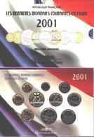 Rare! Les Dernières Monnaies Courantes En Franc 2001 (BU) Last Franc Official Set 2001 - France