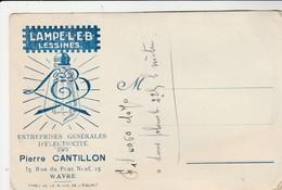 Lampe L.E.B. Lessines ,carte Publicitaire De Pierre Cantillon ,entreprise  Générale électrique  WAVRE (ampoule) - Lessines