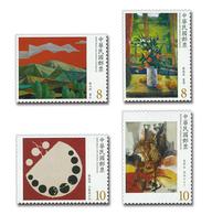 Rep China 2018 Modern Taiwanese Painting Stamps Sunset Window Mountain Flower Vase - China