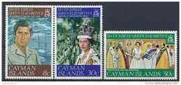 1977 CAIMANES 378-80** Couronnement Elisabeth, Bateau - Iles Caïmans