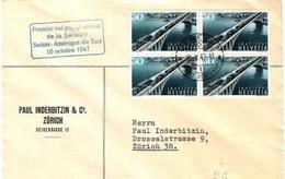 Schweiz Suisse 1947: Premier Vol Swissair Amérique Du Sud 1947 GENÈVE 10.X.47 Pour  Buenos Aires (Zu CHF 22.00 + Vol) - Poste Aérienne