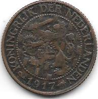Netherlands 1 Cent 1917 Km 152   Xf - [ 3] 1815-… : Royaume Des Pays-Bas