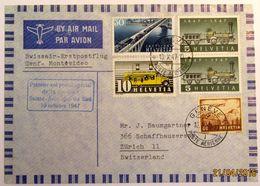 Schweiz Suisse 1947: Premier Vol Swissair Amérique Du Sud 1947 GENÈVE 10.X.47 Pour Montevideo (Uruguay) - Poste Aérienne