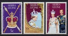 Sierra Leone - 1978 - Yvert N° 408 à 410 ** - 25° Anniversaire Du Couronnement D'Elizabeth II - Sierra Leone (1961-...)