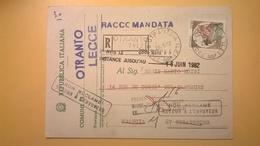 1982 CARTOLINA INTERO POSTALE RACCOMANDATA PER STRASBURGO VOTAZIONI COMUNALI OTRANTO - 6. 1946-.. Repubblica