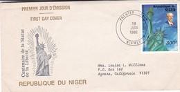 FDC-CENTENAIRE DE LA STATUE DE LA LIBERTE. OBLITERE NIAMEY 1986.- BLEUP - Niger (1960-...)