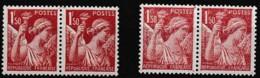1944 Variété Sur Y&T 652 Paire Claire Avec Paire Normale N** - Curiosities: 1941-44 Mint/hinged